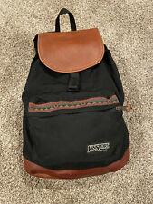 Vintage JanSport USA Backpack Festival Bag Leather Flap + Bottom Black Aztec 90s