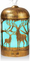 Essential Oil Diffuser, Metal Deer Oil Diffuser with 7 Colors Changing LED Light