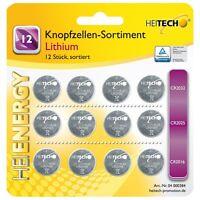 Heitech Lithium Knopfzellen-Sortiment 12 tlg. - Knopfzellenset Batterien Set
