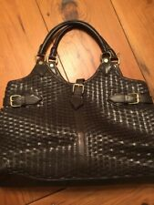 BROOKS BROTHERS WOVEN BROWN LEATHER  PURSE