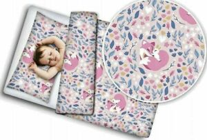 Baby Bedding Set For Crib Toddler Bed Duvet Covers Set Cotton 120x90cm Pink Fox