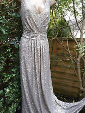 Sorella Vita Platinum Silver Sequin Plunge Full Length Bridesmaid Dress 16 BNWT