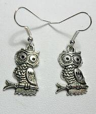 Dangle earrings - Tibetan silver style owl on branch