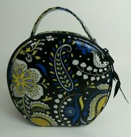 Vera Bradley Nellie Blue Retired Pattern Round Zip Close Cosmetic Jewelry Bag