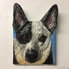 Australian Cattle Dog Tile Handmade Pet Portrait Ceramic Sondra Alexander Art