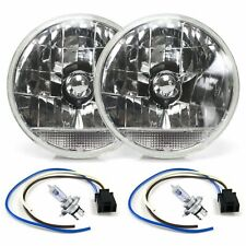 """Snake-Eye 7"""" Inch Lens Assembly with H4 bulb Plug and Clear Turn Signal  Pair"""