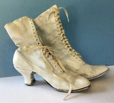 Vintage Antique Victorian Edwardian White Lace Up Canvas High Heel Shoes Boots 7