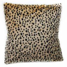 Fi857a Light Peach Black Leopard Pattern Faux Fur Cushion Cover/Pillow Case Size