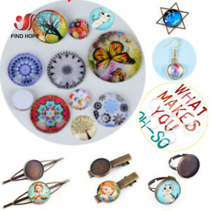 5-100PCS Transparent Clear Crystal Round Flat Back Glass Cabochon Scrapbooking