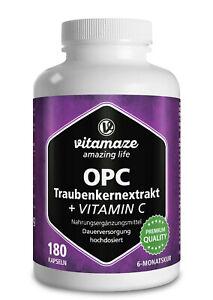 (€13,24/100g) OPC Traubenkernextrakt + Vitamin C 180 Kapseln für 6 Monate
