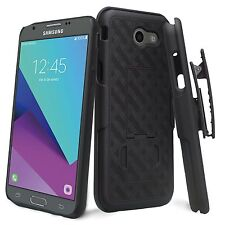 For Samsung Galaxy J3 Emerge Sprint Boost 4G LTE Shell Holster Black Combo Case