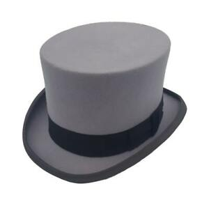 Grey Wool Felt Drab Top Hat - Christys Fashion Topper - Extra Large