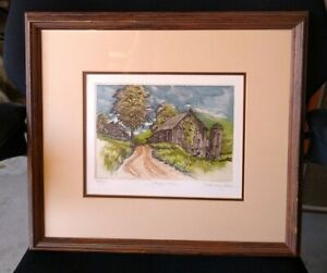 """Kathleen Cantin """"MAPLE HILL"""" Etching 79/250 Beautiful Colors FARM HOUSE"""