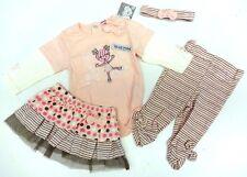Baby Set GR 80 Langarmbody+Hose+Rock+Stirnband süß Mädchen 4 tlg Sommer Geschenk