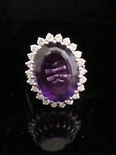 1980s 18ct White Gold Fine Amethyst and Diamond Cocktail Ring Cluster