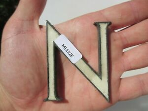 """Small Victoria Brass Shop Letter Initial Sign Letter """"N"""" Antique Enamel Old 2.5"""""""