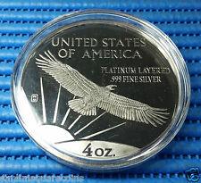1999 US The Washington Mint Giant 4 oz .999 Fine Silver Platinum Layered Eagle