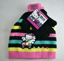 HELLO KITTY O/S, Multicolor Striped Beanie And Gloves Set