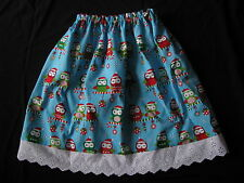 handmade clothes girl skirt christmas owls size 4
