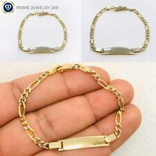 """Real 14K Two Tone Yellow/White Gold 6"""" Figaro Chain Child Kid Baby ID Bracelet."""