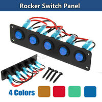 5 Gang Rocker Switch Panel Circuit Breaker LED Waterproof Car Marine Boat