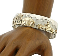 Navajo Artist Signed Jacob Kahe .925 Silver 12k Gold Plate Pictograph Cuff