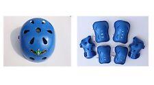 Kid's Skateboard Longboard Helmet Knee & Elbow Pads Wrist Guard Combo SET Blue