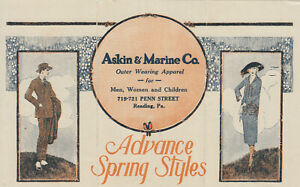 ADVERTISING ASKIN & MARINE READING PA. 719-21 PENN ST. DROP MAIL ENCL.$1 CREDIT