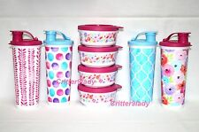 NEW Tupperware Art of Spring Tumblers Flip Top plus Dessert Snack Cups