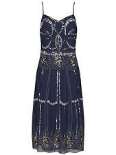 Charleston Flapper Gatsby 1920's Elegant Strappy Sequin Cocktail Dress 8-20 16 Dark Blue