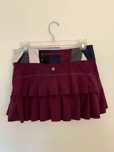 LULULEMON Run: Pace Setter Skirt Plum / Pow Stripe Angel Wing Size 6 Skort