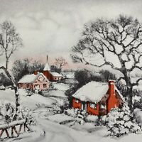 Vintage Early Mid Century Christmas Greeting Card Pink Red House Church Village