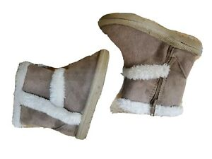 Teey Toes 3T Girls Brown Sued Fur Zip Snow Boots winter warm booties
