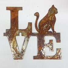 "6"" LOVE Square Sitting Cat for O Rusty Metal Wall Art Craft Stencil Sign DIY"