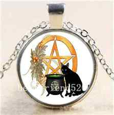 Cat Wicca Photo Cabochon Glass Tibet Silver Chain Pendant  Necklace