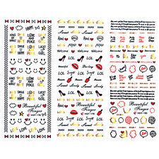 3pcs/set Nail Art Water Decals Transfer Stickers Bowknot Lip Love Heart Design