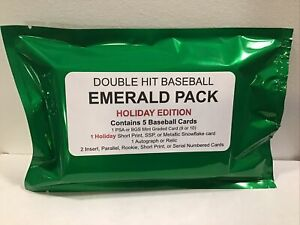 DOUBLE HIT EMERALD HOT PACK BASEBALL 1 PSA GRADED 1 AUTO OR RELIC CARD HOLIDAY