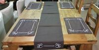 Table Placemats and Table Runner With Handcrafted Embroidered Paw Prints