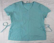 Landau Women's Scrub Shirt Top Size L Aqua