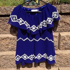 MM Couture By Miss Me Sz S Royal Blue Blouse Top Flowy Flattering EUC