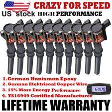 Set of 10 Black Ignition Coils Pack for Ford 4.6L 5.4L V8&6.8L V10 DG508 Lincoln