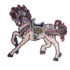 Pink Sequin Horse Patches Decorated Embroidered Sew on Patches Fabric Applique