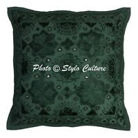 Indian Boho Embroidered Pillow Case Throw Cotton Green Decorative Cushion Cover