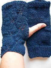 Hand knitted lace pattern wrist warmers, sapphire blue