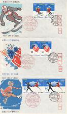 Sapporo Olympic Figure Skating Skiing Bobsleigh Set of 3 Matsuya FDCs Japan 1972