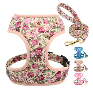 Cute Floral Dog Harness and Lead Small Medium Pet Puppy Mesh Padded Vest Pink