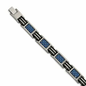 Chisel Titanium Polished with Blue Carbon Fiber Inlay and Rubber Bracelet