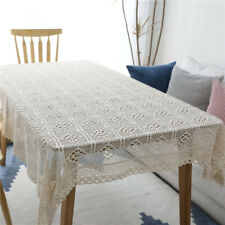 Vintage Hand Crochet Lace Tablecloth Round Rectangle Cotton Tablecloth Prop New
