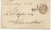 """2427 1844 QV 1d pink postal stationery env tied by numeral cancel """"71"""" LOCAL PMK"""