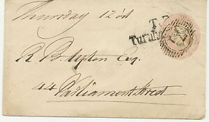 """GB 1844 QV 1d pink postal stationery env tied by numeral cancel """"71"""" LOCAL PMK"""